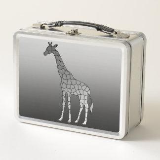 Moderne geometrische Giraffe, silbernes Grau/Grau Metall Lunch Box