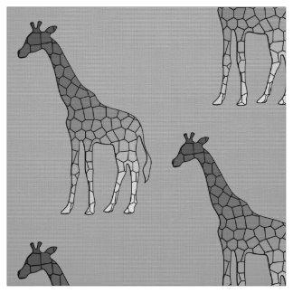 Moderne geometrische Giraffe, silbernes Grau/Grau Stoff