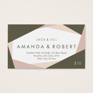 Moderne geometrische Jack-und Jill-Karte, Rose Visitenkarten