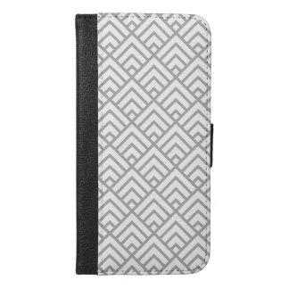 Moderne geometrische Muster-graues Weiß-Dreiecke iPhone 6/6s Plus Geldbeutel Hülle