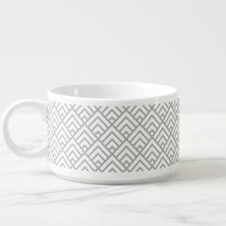 Moderne geometrische Muster-graues Weiß-Dreiecke Kleine Suppentasse