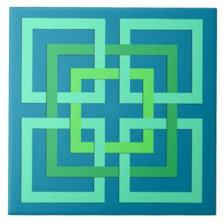 Moderne geometrische Quadrate, Aqua, aquamarines, Keramikfliese