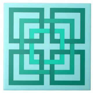 Moderne geometrische Quadrate, Aqua und Türkis Fliese