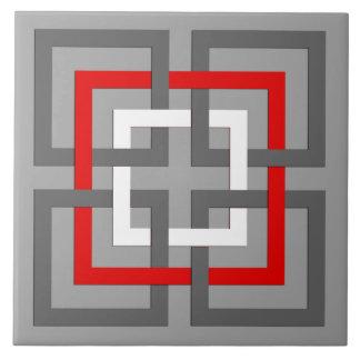 Moderne geometrische Quadrate, Grau, Rot und Weiß Fliese