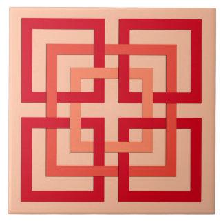 Moderne geometrische Quadrate, korallenrote Orange Fliese