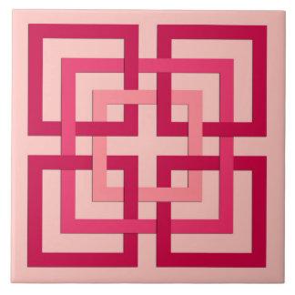 Moderne geometrische Quadrate, korallenrotes rosa Keramikfliese
