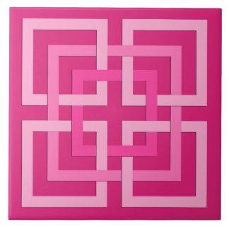 Moderne geometrische Quadrate, pinkfarben und Fliese