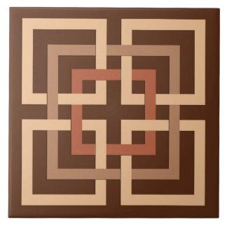 Moderne geometrische Quadrate, schokoladenbraun Fliese