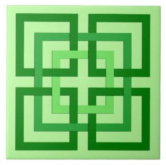Moderne geometrische Quadrate, tadelloses Grünes Keramikfliese