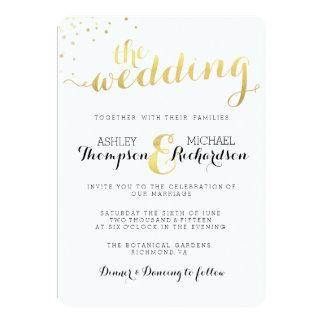 Moderne Goldfolien-Glamour-Hochzeits-Einladung 12,7 X 17,8 Cm Einladungskarte