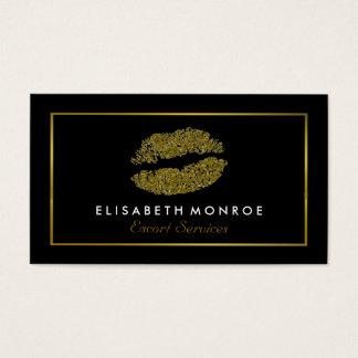 Moderne GoldGlitter-Lippen, Eskorte-Service Visitenkarten