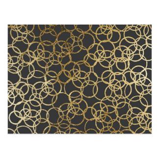 Moderne Goldkreise auf Holzkohlen-Schwarzem Postkarte
