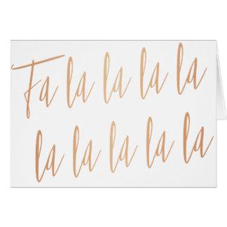 """Moderne GoldRose """"Fa-Lala-La"""" Weihnachten Karte"""