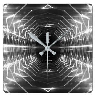 Moderne grafische abstrakte coole glühende quadratische wanduhr