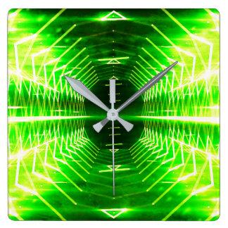 Moderne grafische coole glühende Turbulenz, Quadratische Wanduhr
