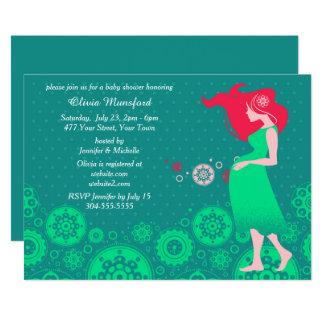 Moderne grüne Babyparty 12,7 X 17,8 Cm Einladungskarte