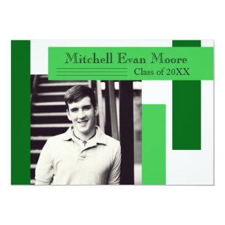 Moderne grüne Streifen - Abschluss-Mitteilung 12,7 X 17,8 Cm Einladungskarte