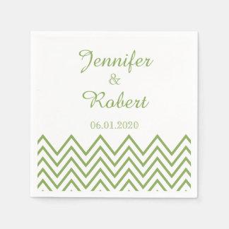 Moderne grüne Zickzack Hochzeits-Serviette Serviette