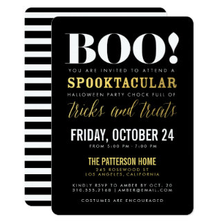 Moderne Halloween-Party-Einladung BOO Gold| Karte