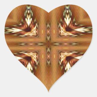 Moderne Herbstfarben-gefiedertes symmetrisches Herz-Aufkleber