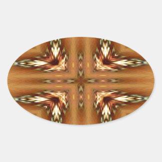 Moderne Herbstfarben-gefiedertes symmetrisches Ovaler Aufkleber