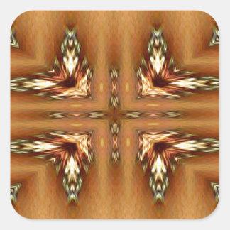 Moderne Herbstfarben-gefiedertes symmetrisches Quadratischer Aufkleber