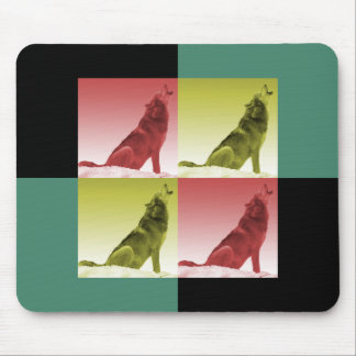 Moderne Heulenwolf-Pop-Kunst-Quadrate Mousepad