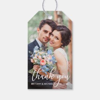 Moderne Hochzeit danken Ihnen Braut-Bräutigam-Foto Geschenkanhänger