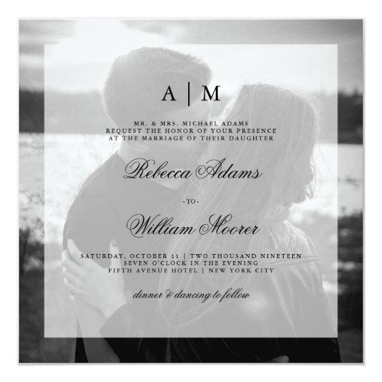 Moderne Hochzeits-Foto-Quadrat-Einladung | Karte