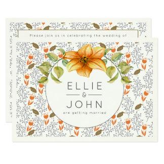 Moderne Hochzeits-Stern-Blumen-Vögel und mit Karte