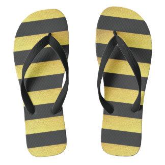 Moderne Imitat-Goldfolien-Schwarz-Streifen Flip Flops