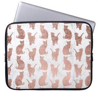 Moderne Imitat-Rosen-Goldkatzen kopieren weißen Laptopschutzhülle