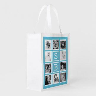 Moderne Initialen und Instagram Foto-Collage Einkaufstaschen