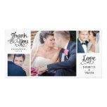 Moderne Kalligraphie-Hochzeit danken Ihnen kardier Fotokartenvorlage