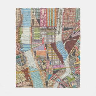 Moderne Karte von New York II Fleecedecke