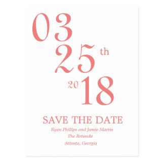 Moderne Korallen-Save the Date Postkarte