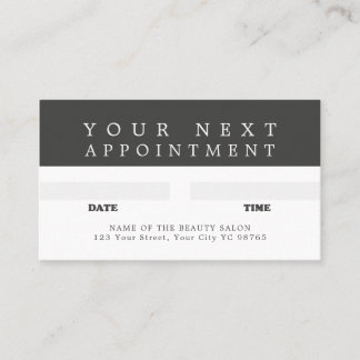 Modern Cool Grey White Beauty Appointment Card