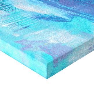 Moderne Kunst-abstrakter Türkis-, Blauer u. Leinwanddruck