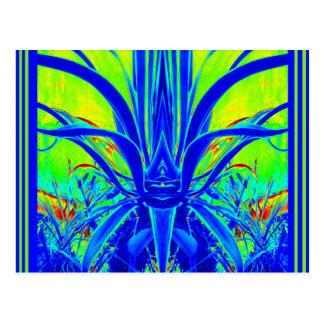 Moderne KUNST-DEKO blaues Agaven-Blätter durch Postkarte