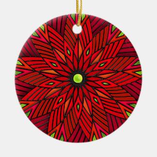 Moderne Kunst-Deko-Poinsettia - rund Keramik Ornament