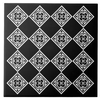 Moderne Kunst-Deko-Schwarzweiss-Diamanten Trivet Keramikfliese