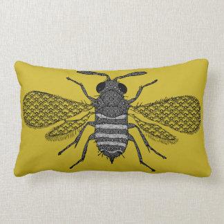 Moderne Kunst-Hummel-Bienen-Druck-Kissen - Senf Lendenkissen
