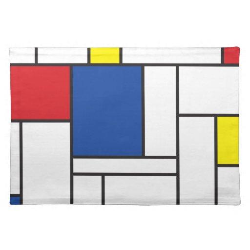 Moderne kunst tischset mondrian minimalist de stij zazzle for Minimalist werden