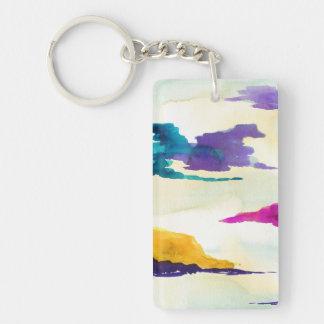 Moderne Kunst-Wasserfarbe-malende Schlüsselkette Schlüsselanhänger
