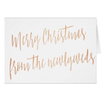 """Moderne kupferne """"frohe Weihnachten von den Grußkarte"""