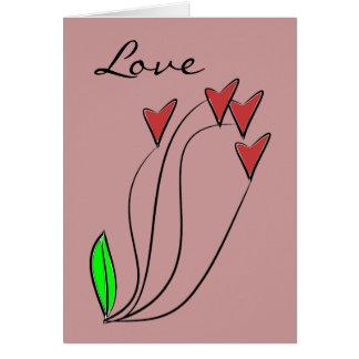 Moderne Liebe-Herz-Rosen Karte