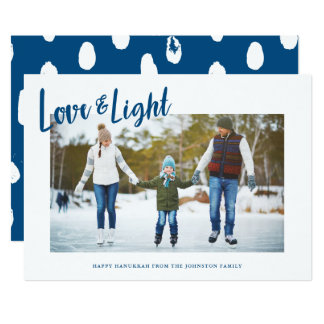 Moderne Liebe-u. Licht-Foto-Chanukka-Karte 12,7 X 17,8 Cm Einladungskarte