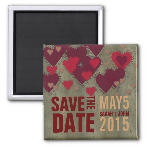Moderne Liebhaber-roter Herz-Save the Date Magnet Magnets