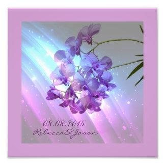 moderne lila lila Orchideenmit blumenhochzeit Photodrucke