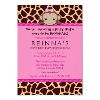 Moderne Mädchen-Affe-Einladung [Rosa] 11,4 X 15,9 Cm Einladungskarte